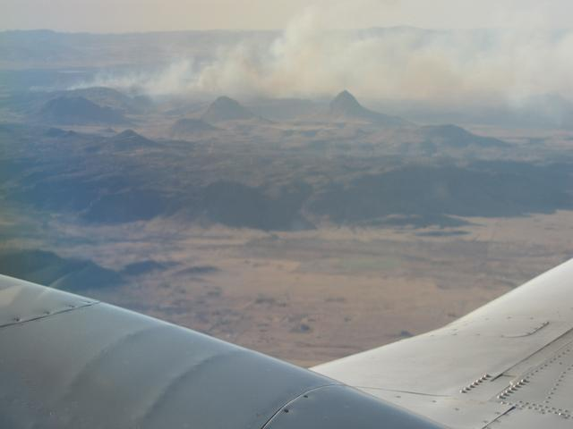 A wildfire burning near Fort Davis in West Texas on Sunday afternoon.