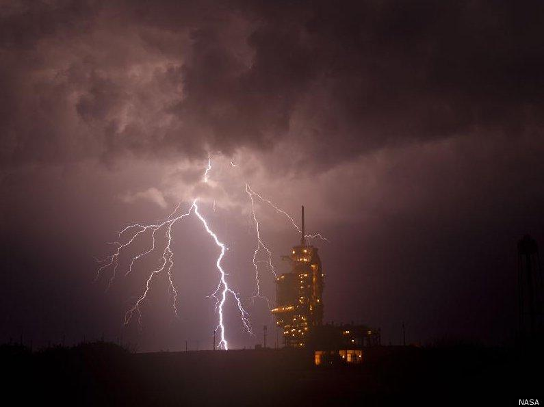 A lightning storm moved over the launchpad at Kennedy Space Center where Endeavor is set to blast off at 2:47 pm CST.