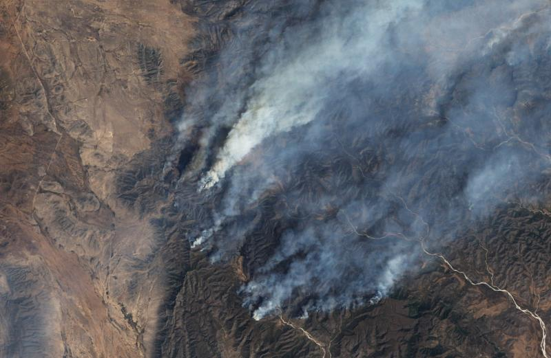 This satellite image, taken April 9, shows the extent of wildfires in Northern Mexico.