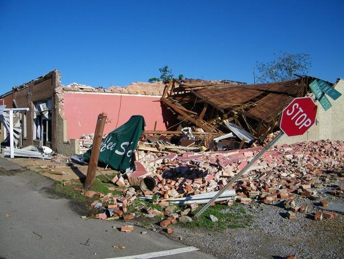Storm damage in Smithville, one of the worst hit areas in Mississippi. Red Cross volunteers from Central Texas area headed to Mississippi to help.
