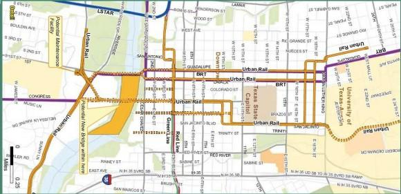 This is a portion of the proposed route for the urban rail line the City of Austin. The rail line would start at the Mueller neighborhood, run through downtown and end at the airport.