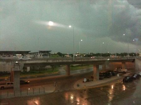 Rain and clouds outside of the Austin Bergstrom International Airport Thursday morning.