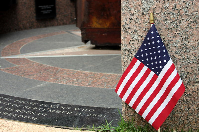 A small US flag was placed at the base of Austin's 9/11 memorial.