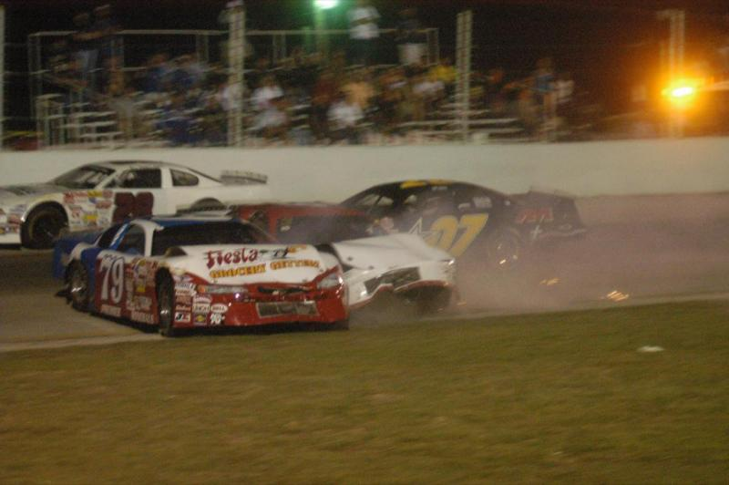 Austin Wayne Self took damage to his car before going on to win his second race of the night in Kyle on Saturday.