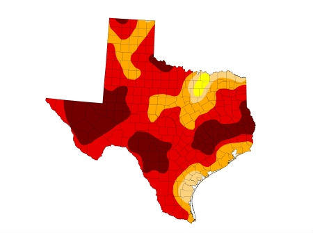 This map shows more of Texas in drought than any other time since it was introduced by the US Drought Monitor in January 2000.