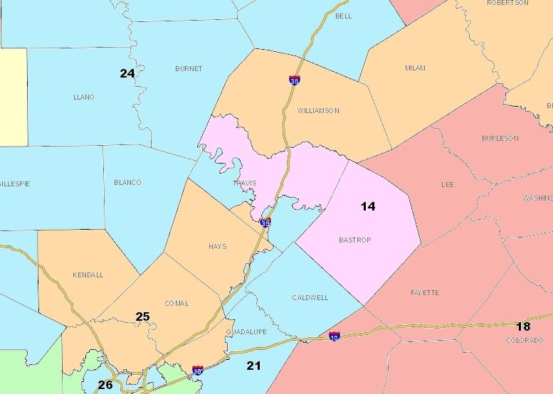 Travis County would be split into four different state senate districts under a proposal by Senate Redistricting Chairman Kel Seliger (R-Amarillo). Click to see the existing Travis County boundaries.