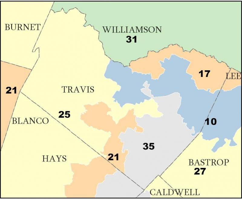 A screen shot from the proposed redistricting map.