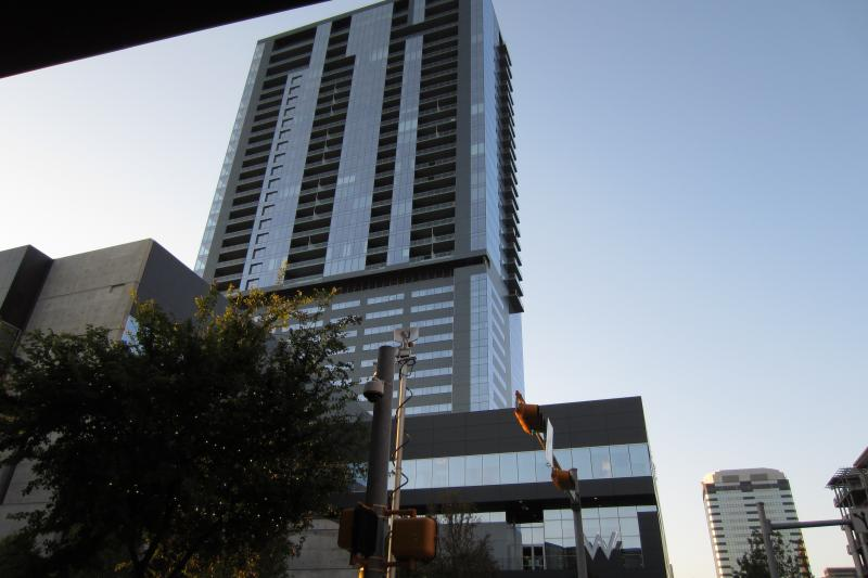 The W Hotel and Residences in downtown Austin, where glass panels on the exterior of the building have shattered and fallen from the building three times in as many weeks.