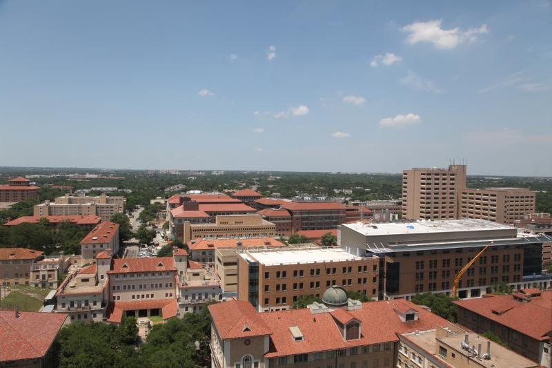 A view of the UT Austin campus from the tower in the Main Building.
