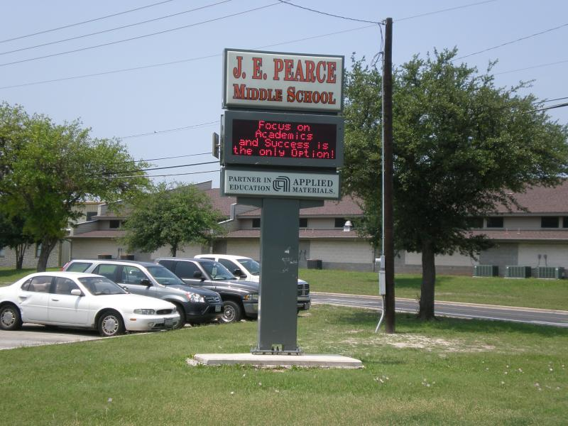 A sign outside Pearce Middle School