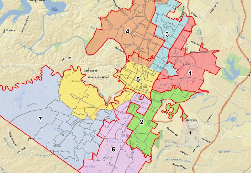 One of two proposed maps to redraw AISD Trustee boundaries in Austin. The red line shows existing boundaries and the colors reflected possible changes.