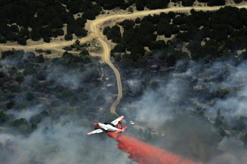 Air tankers, like this one, are being used for fire retardant drops on a pair of East Texas fires.