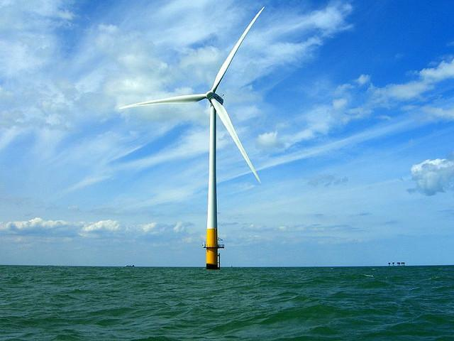 A turbine at the Kentish Flats Offshore Wind Farm off the coast of the UK.