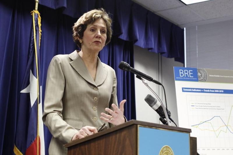 Comptroller Susan Combs giving the biennial revenue estimate in Austin January 10, 2011.