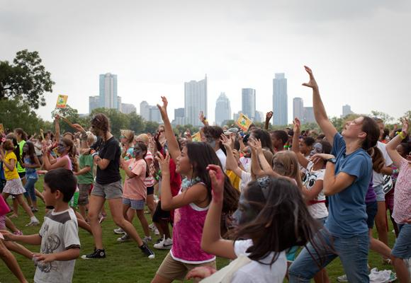 Over a hundred children gathered in Zilker Park this morning to be part of a Thriller flash mob.