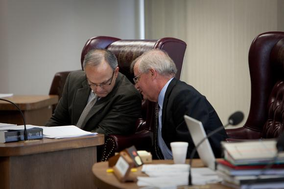 Parliamentarian Kirk Overbey and David Bradley of District 7 at Thursday morning's State Board of Education meeting.