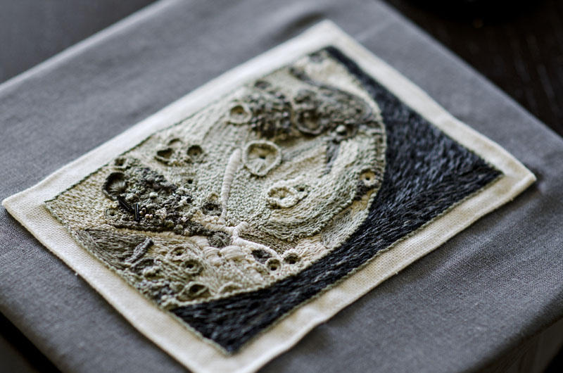 A print of this embroidery blasted off into space this morning aboard the Shuttle Atlantis.