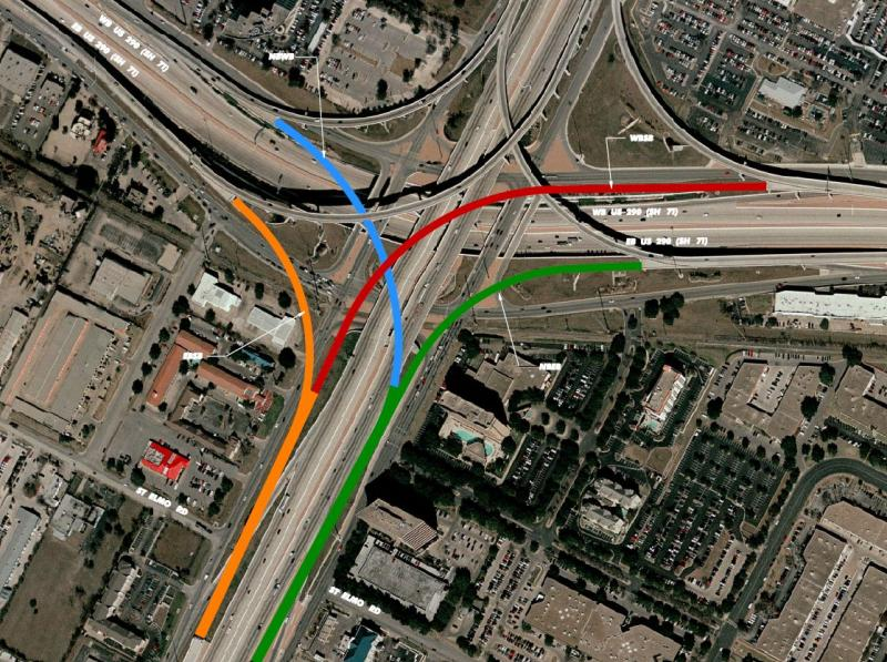 This illustration shows where the new connector ramps are being constructed at I-35 and Ben White Boulevard (SH-71).