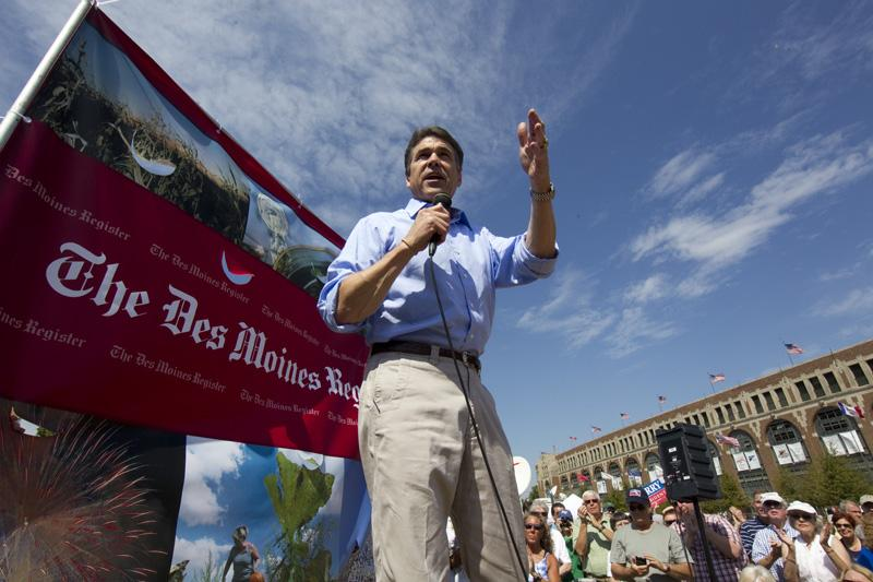 Presidential hopeful and Texas Governor Rick Perry during campaign stop in Waterloo, Iowa on August 14th, 2011.