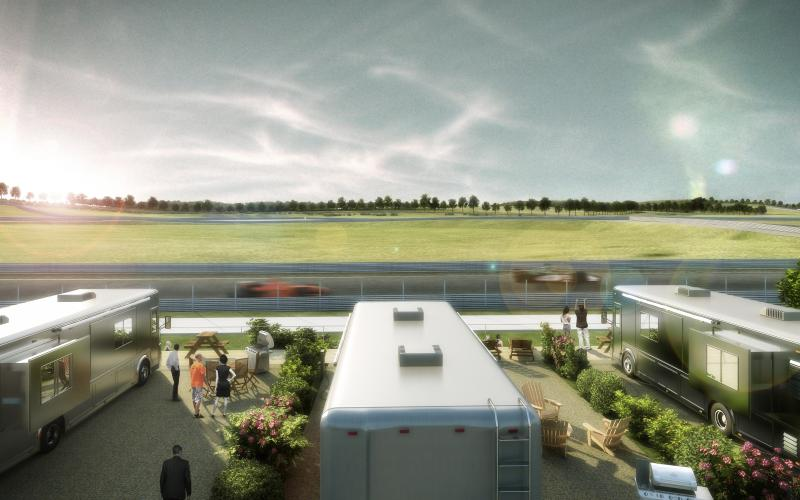 An artist's rendering of the RV stands to be installed at the Circuit of the Americas track