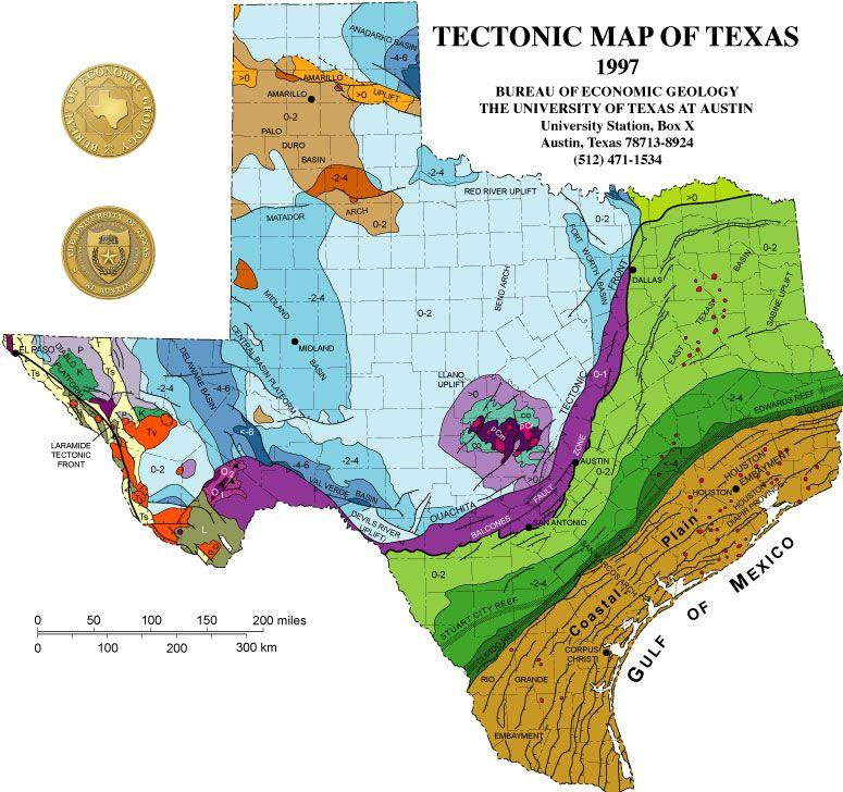 A tectonic map of Texas.