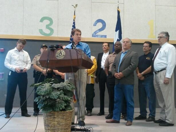 Gov. Perry spoke during a news conference this morning at Steiner Ranch.