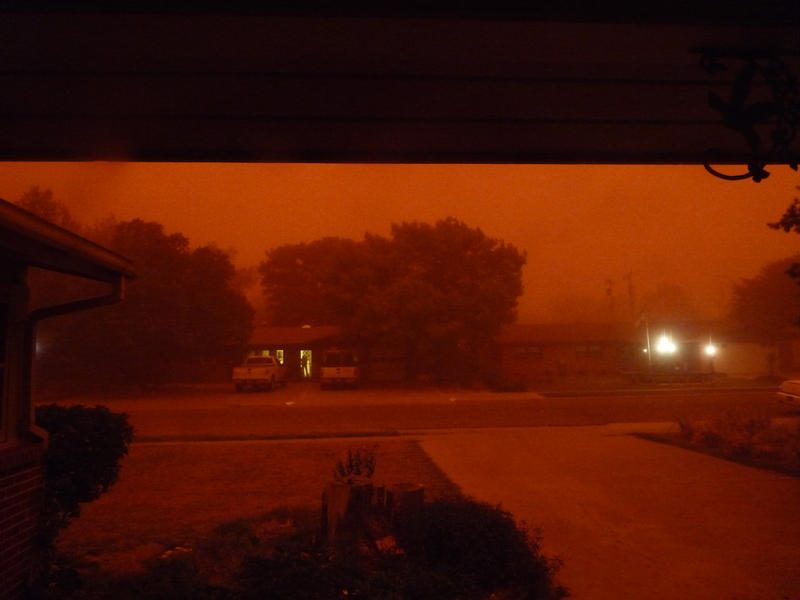 The dust storm turned daylight an ominous red in Lubbock.