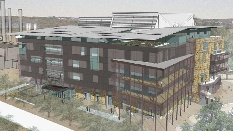 An artist's rendering of the central library design that council will vote on Thursday.
