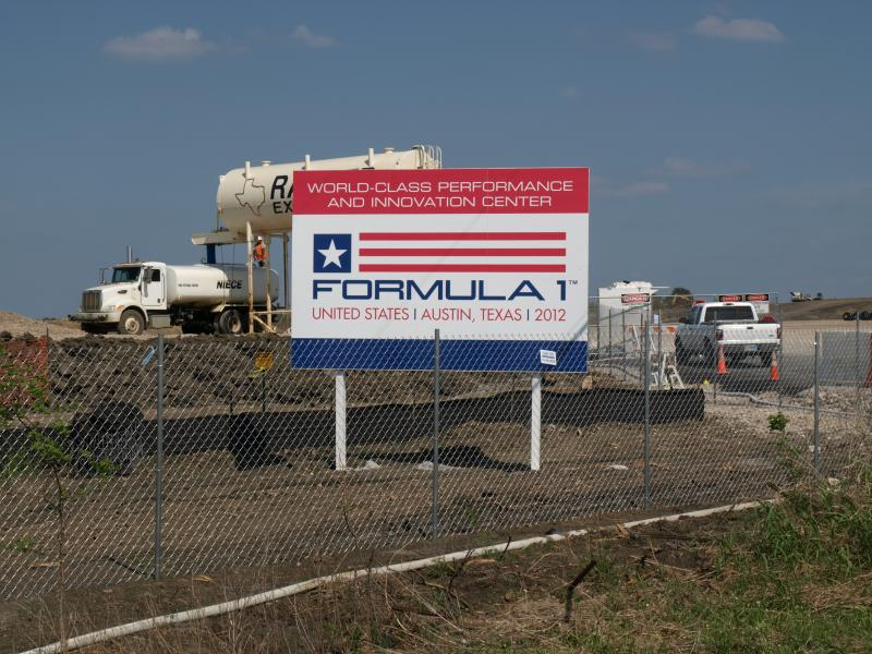 Construction has been halted on the Circuit of the Americas track in southeastern Travis County amid a contract dispute between local organizers and Formula One boss Bernie Eccelstone.