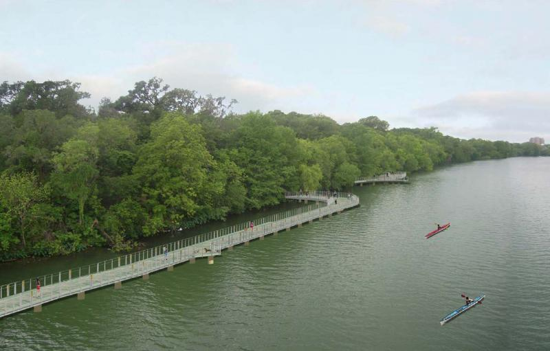 An artist's rendering of the boardwalk to be constructed on Lady Bird Lake.