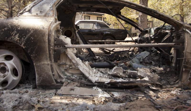 Charred car in Bastrop County in September. The Texas wildfire season has lasted one year since November 2010.