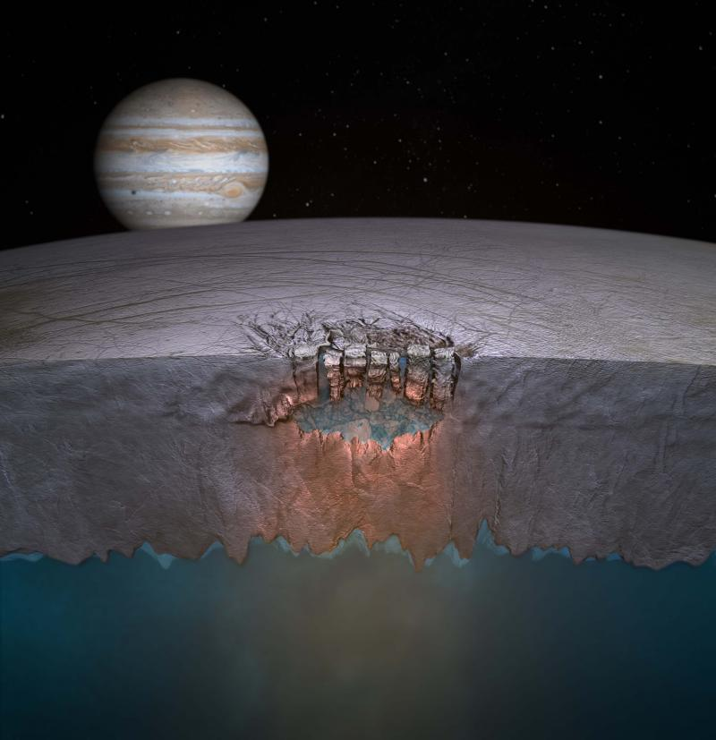 "An artist's depiction of the ""Great Lake"" underneath Europa's icy surface."