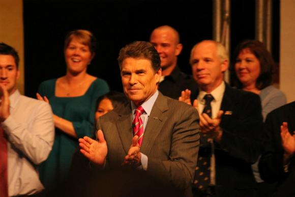 Rick Perry attending an event hosted by the Christian group The Family Leader in Des Moines, Iowa.