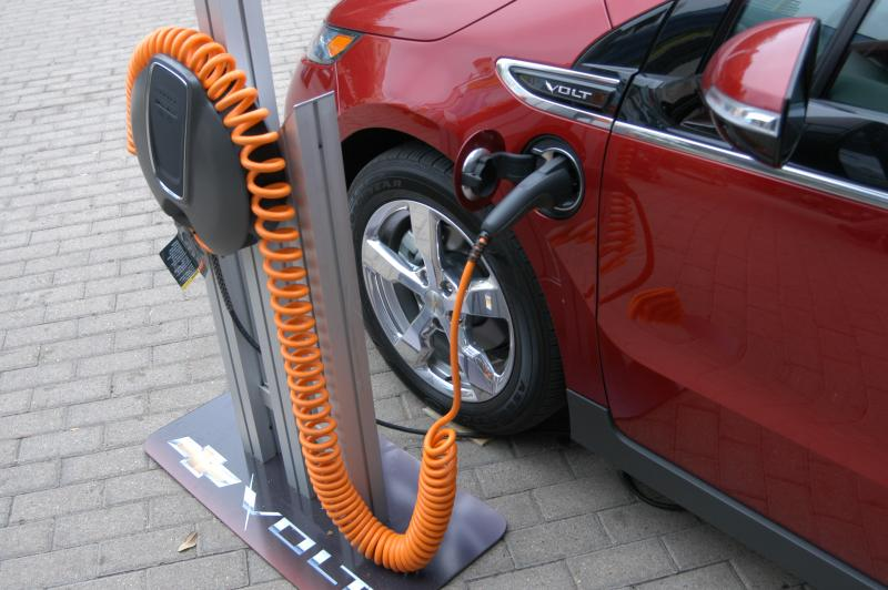 A Chevy Volt charging station on display outside the Austin Convention Center during SXSW 2011.