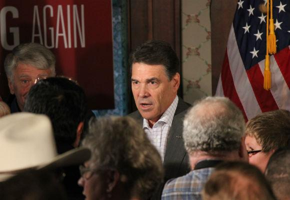 Gov. Rick Perry campaigning in Council Bluffs, Iowa, Dec. 14, 2011.