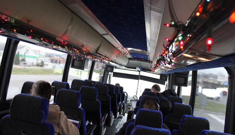Christmas lights helped cheer up the Perry press bus