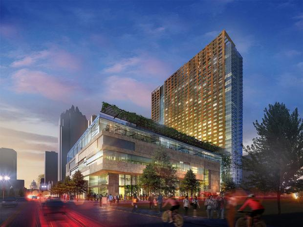 An artists' rendering of a convention hotel to be built on Congress Ave.