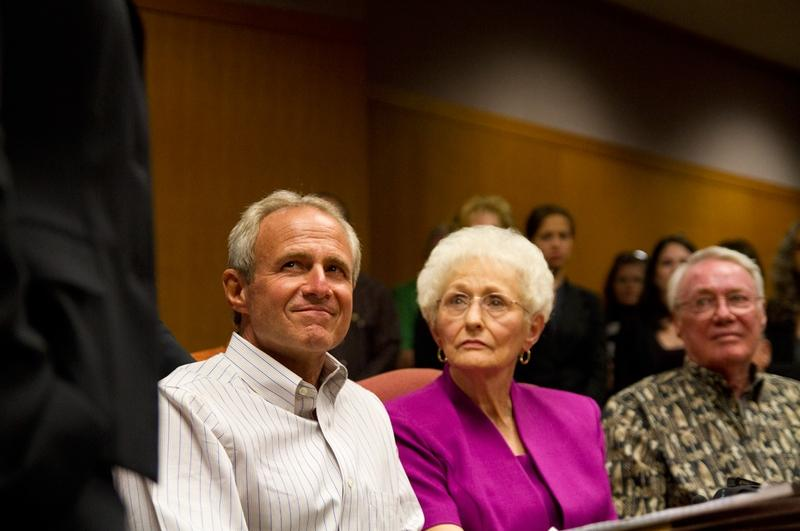 Photo by Callie Richmond/Courtesy of The Texas Tribune. Michael Morton sits beside his mother, Patricia Morton, during an emotional press conference after a judge agreed to release him on personal bond after he spent nearly 25 years in prison.