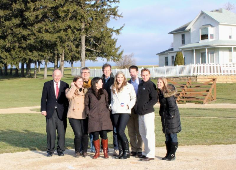 The Perry Bus Tour press corps at the Field of Dreams movie set outside of Dyersville, Iowa