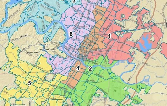A map showing one proposal for new Austin City Council districts.