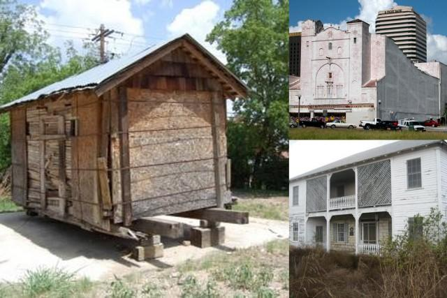 Clockwise, from left: San Marcos' Movable Jail, the Ritz Theater in Corpus Christi, and the William Pfluger House in Pflugerville
