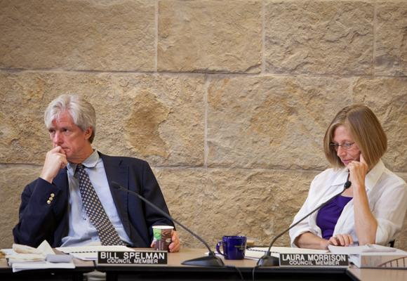 City Council members Bill Spelman and Laura Morrison didn't see eye-to-eye on the subject of a short term rental property audit.
