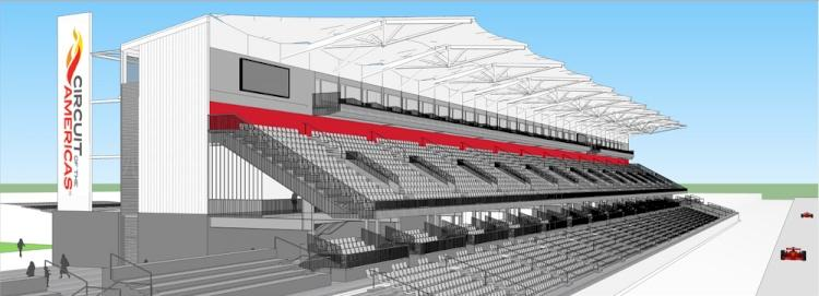 A rendering depicting the 9,000 seat main grandstand at the Circuit of the Americas track.
