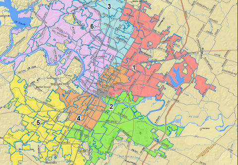 Detail of a six-district map proposed by Lee Leffingwell, a proposal that's garnered little support.