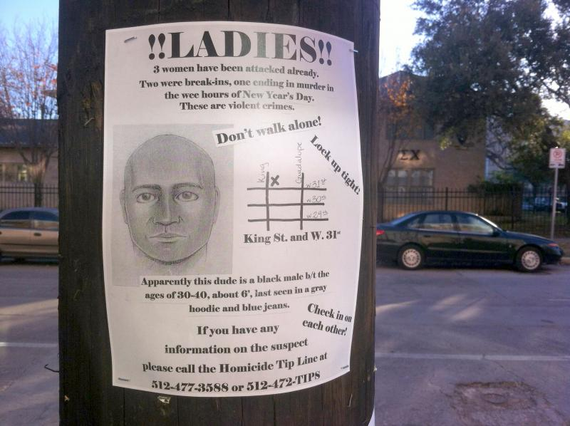 Handmade wanted posters like this one have been posted around campus-area neighborhoods.