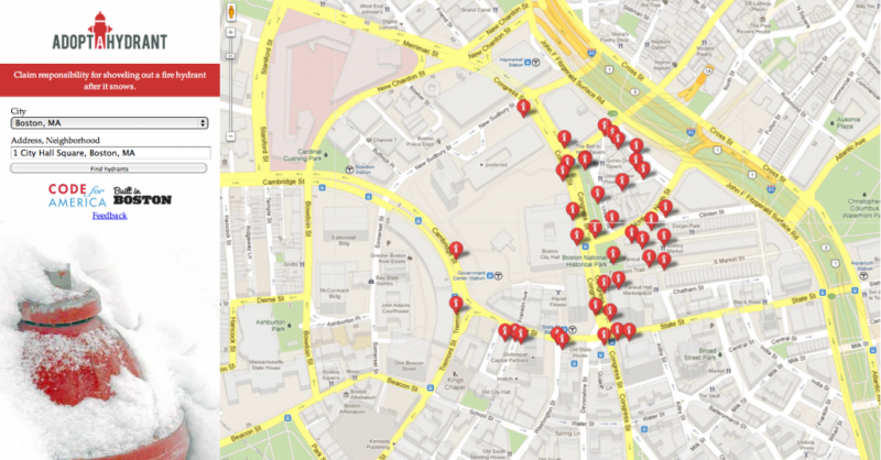 An image of Adopt a Hydrant, an app where citizens can volunteer to maintain important city infrastructure.