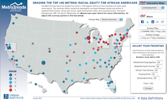 A still of an interactive map from the Urban Institute, ranking equity for African-Americans and Latinos around the country.