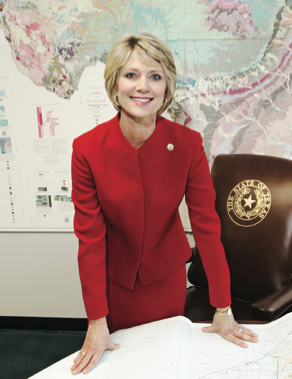 Texas Railroad Chairwoman Elizabeth Ames Jones stepped down on Monday.