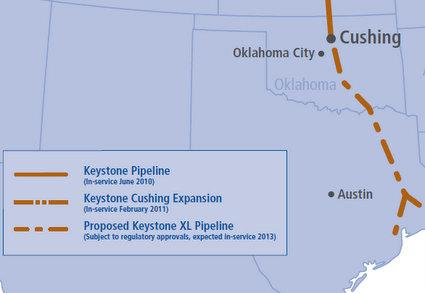 This map shows the route an uncompleted portion of the Keystone XL Pipeline would take through Texas.