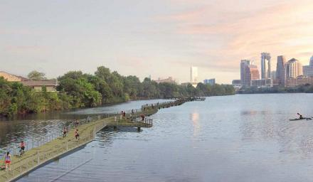 A rendering of the proposed Lady Bird Lake boardwalk.